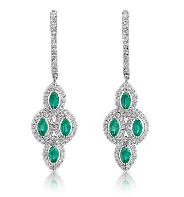 1.10ct Emerald Asteria Diamond Drop Earrings in 18K White Gold - image 1
