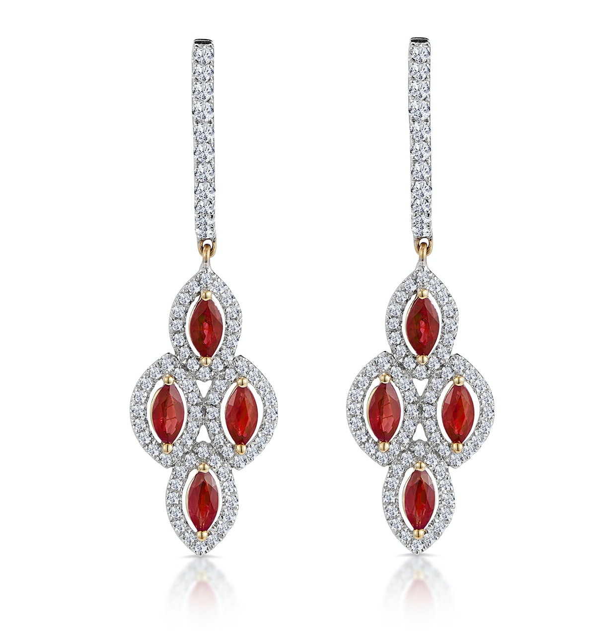 1.40ct Ruby Asteria Collection Diamond Drop Earrings in 18K Gold