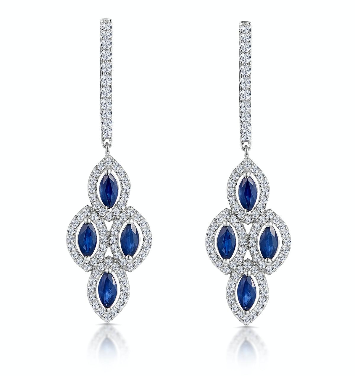 1.45ct Sapphire Asteria Diamond Drop Earrings in 18K White Gold