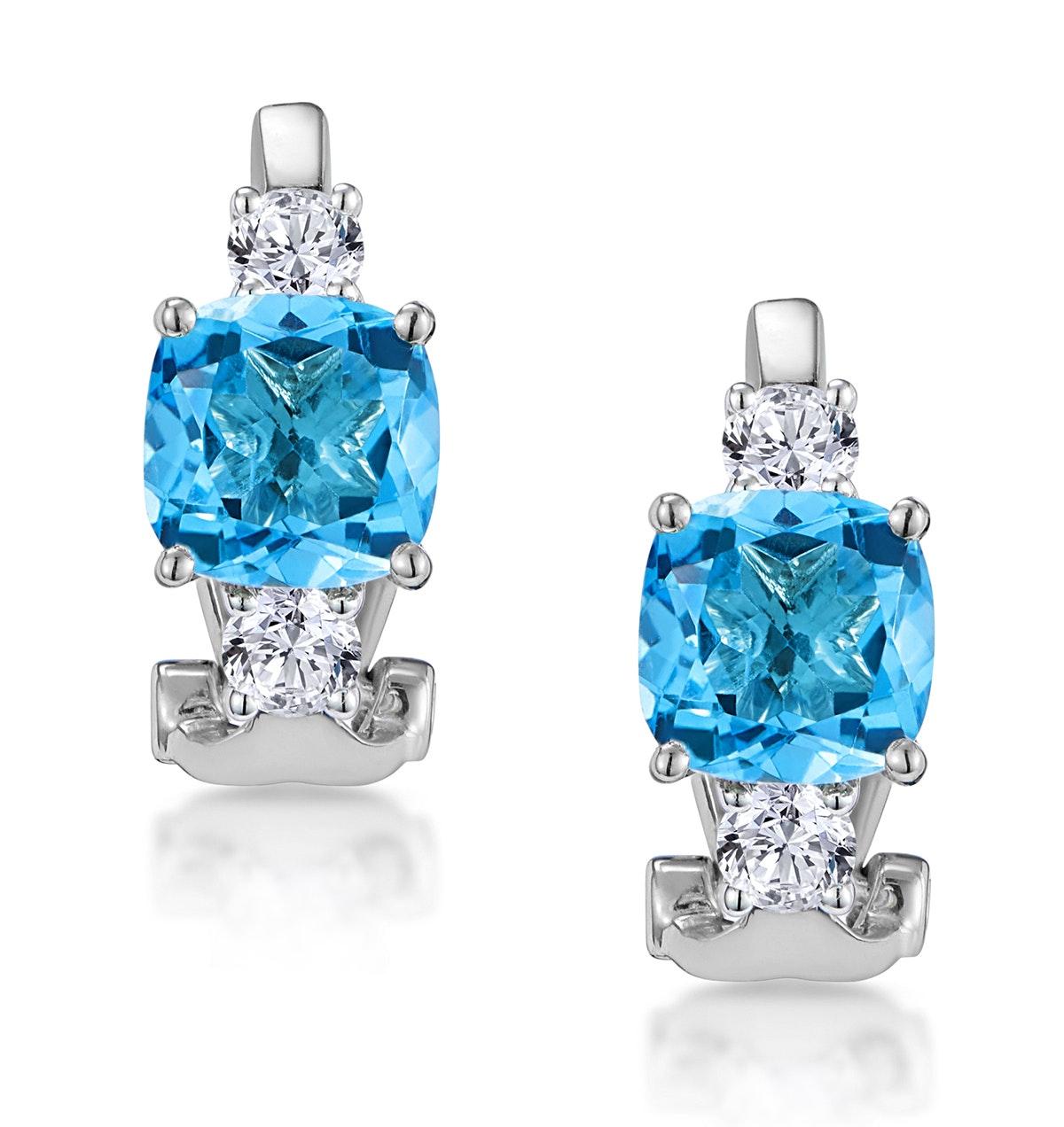 2.50ct Blue Topaz Asteria Collection Diamond Earrings 18K White Gold