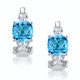 2.50ct Blue Topaz Asteria Collection Diamond Earrings 18K White Gold - image 1
