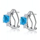 2.50ct Blue Topaz Asteria Collection Diamond Earrings 18K White Gold - image 2