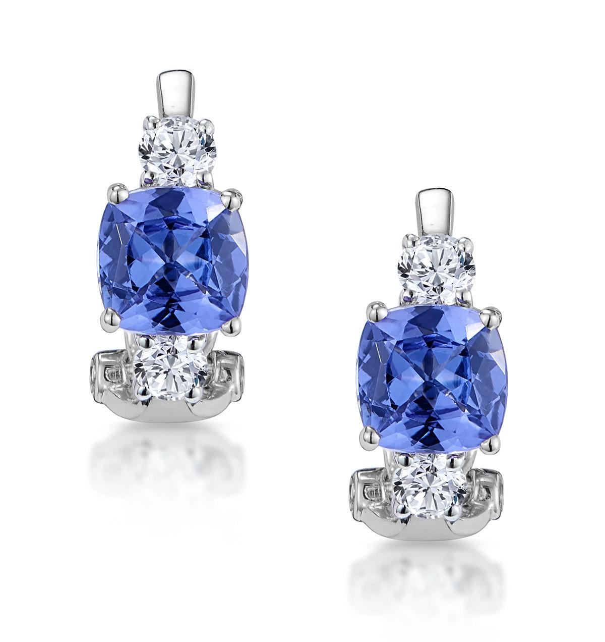 2.20ct Tanzanite Asteria Collection Diamond Earrings 18K White Gold