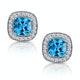 3ct Blue Topaz Asteria Diamond Halo Earrings in 18K White Gold - image 1