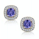 2.20ct Tanzanite Asteria Collection Diamond Halo Earrings in 18K Gold - image 1