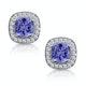 2.20ct Tanzanite Asteria Diamond Halo Earrings in White 18K Gold - image 1