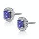 2.20ct Tanzanite Asteria Diamond Halo Earrings in White 18K Gold - image 2