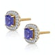 2.20ct Tanzanite Asteria Collection Diamond Halo Earrings in 18K Gold - image 2