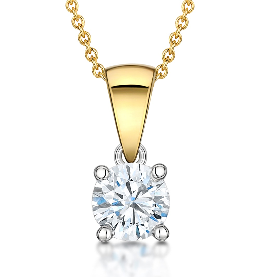 Chloe Certified 0.70ct Diamond Solitaire Necklace in 18K Gold  G/SI2