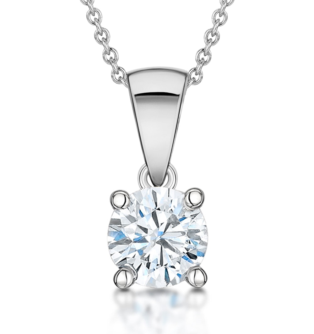 Diamond Solitaire Necklace 0.90ct Chloe Certified in 18KW Gold  G/SI2