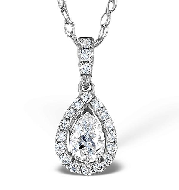 Ella 18K White Gold Diamond Pear Shape Pendant 0.70ct H/SI