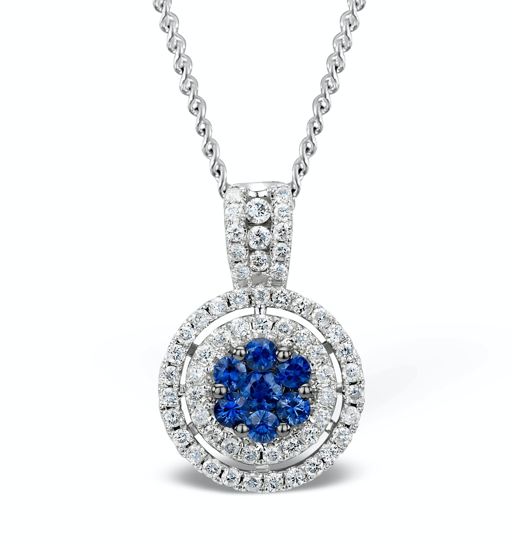 0.45ct and 18K White Gold Diamond Sapphire Pendant -  FR38