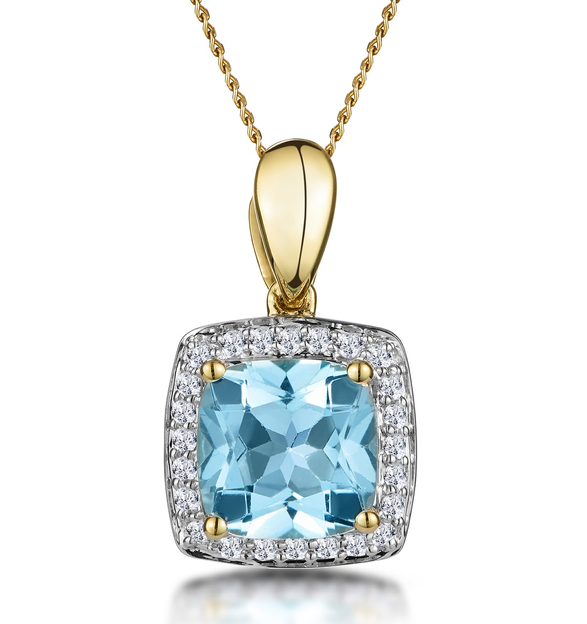 2ct Blue Topaz and Diamond Halo Square Asteria Necklace in 18K Gold