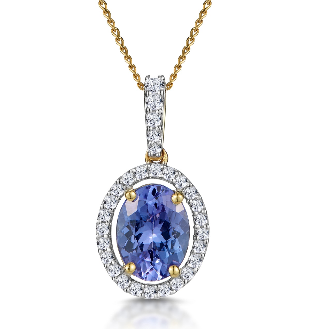 1ct Tanzanite and Diamond Halo Oval Asteria  Necklace in 18K Gold