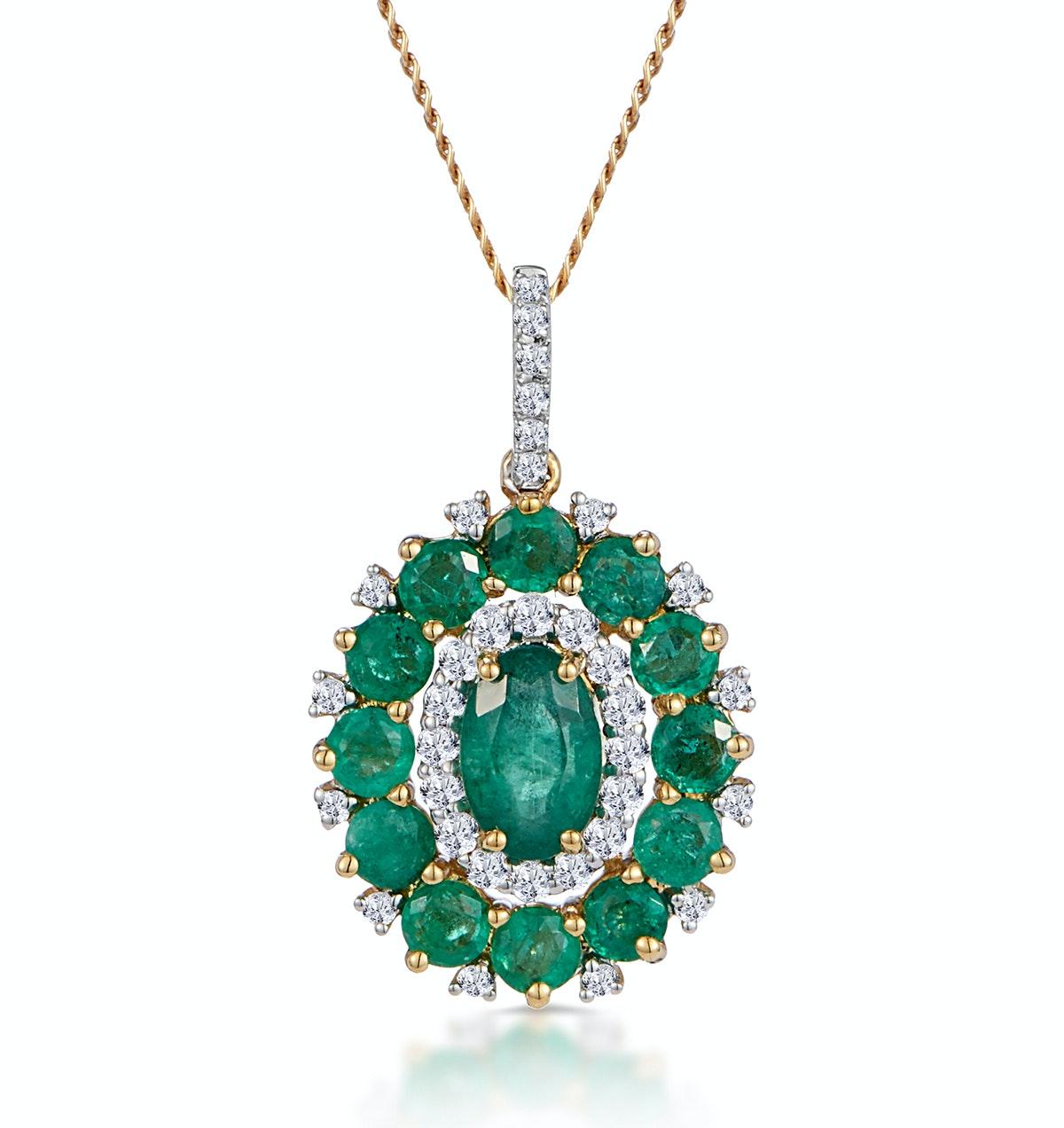 1.40ct Emerald Asteria Collection Diamond Halo Pendant in 18K Gold