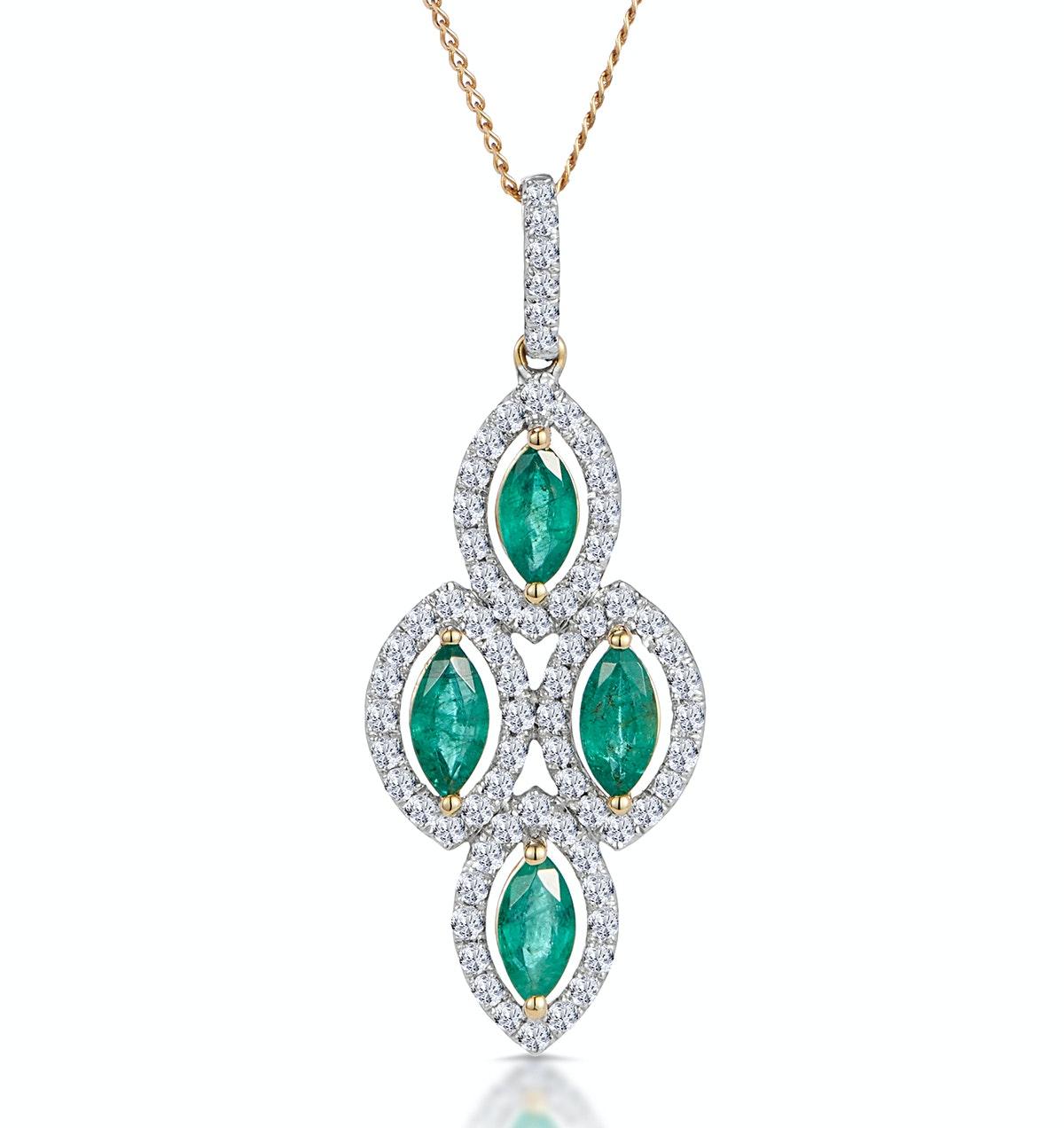 1ct Emerald Asteria Collection Diamond Drop Pendant in 18K Gold