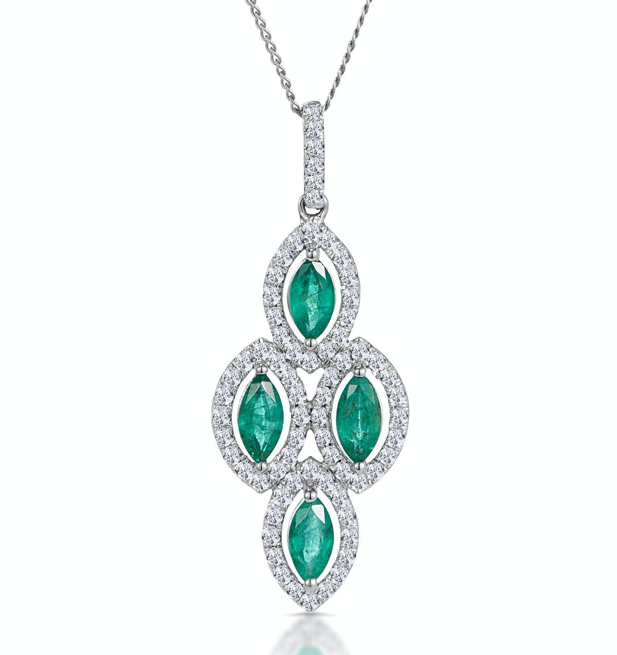 1ct Emerald Asteria Collection Diamond Drop Pendant in 18K White Gold