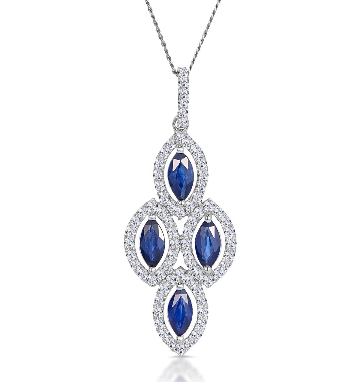 1.20ct Sapphire Asteria Diamond Drop Pendant in 18K White Gold
