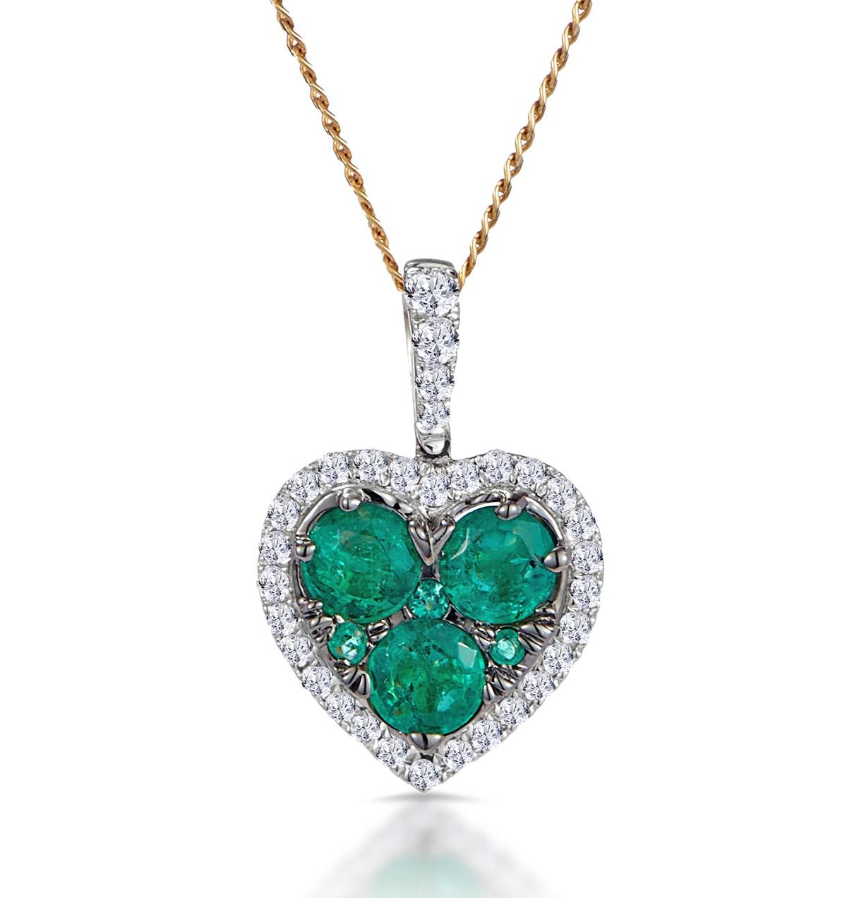0.80ct Emerald Asteria Collection Diamond Heart Pendant in 18K Gold