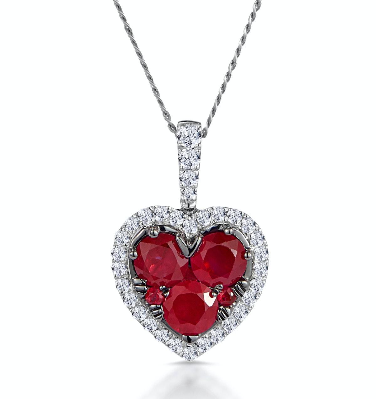 0.80ct Ruby Asteria Diamond Heart Pendant in 18K White Gold