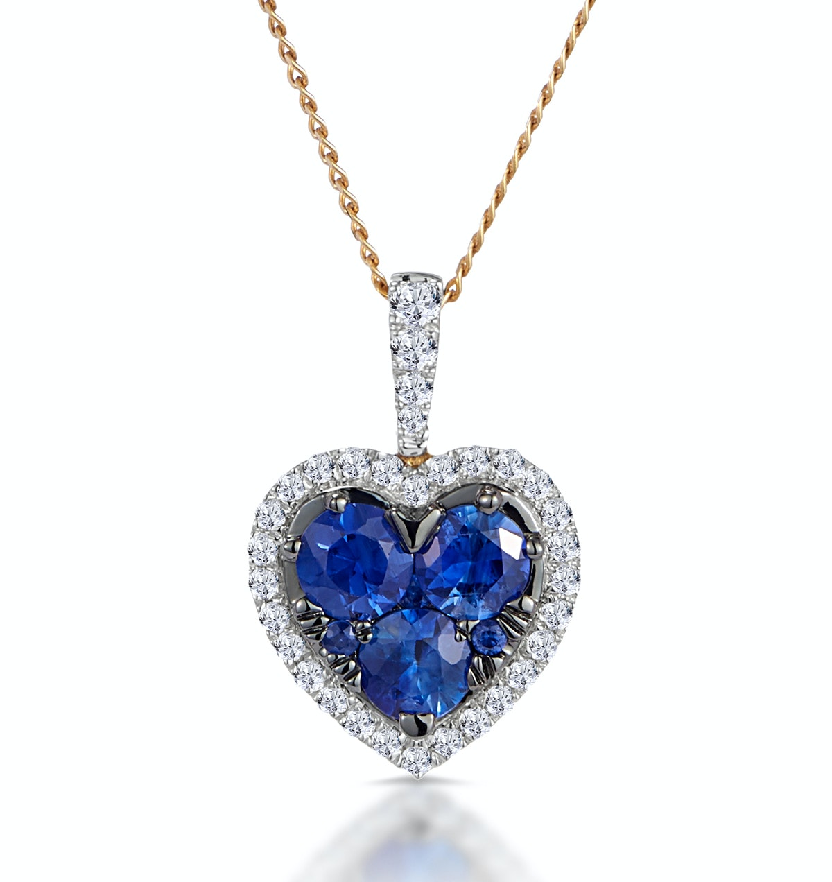 0.80ct Sapphire Asteria Collection Diamond Heart Pendant in 18K Gold