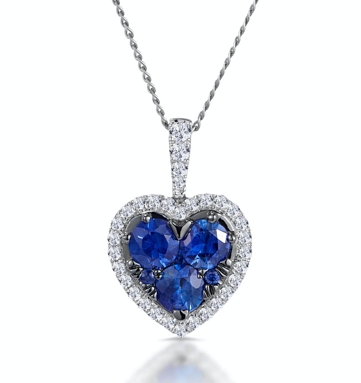 0.80ct Sapphire Asteria Diamond Heart Pendant in 18K White Gold