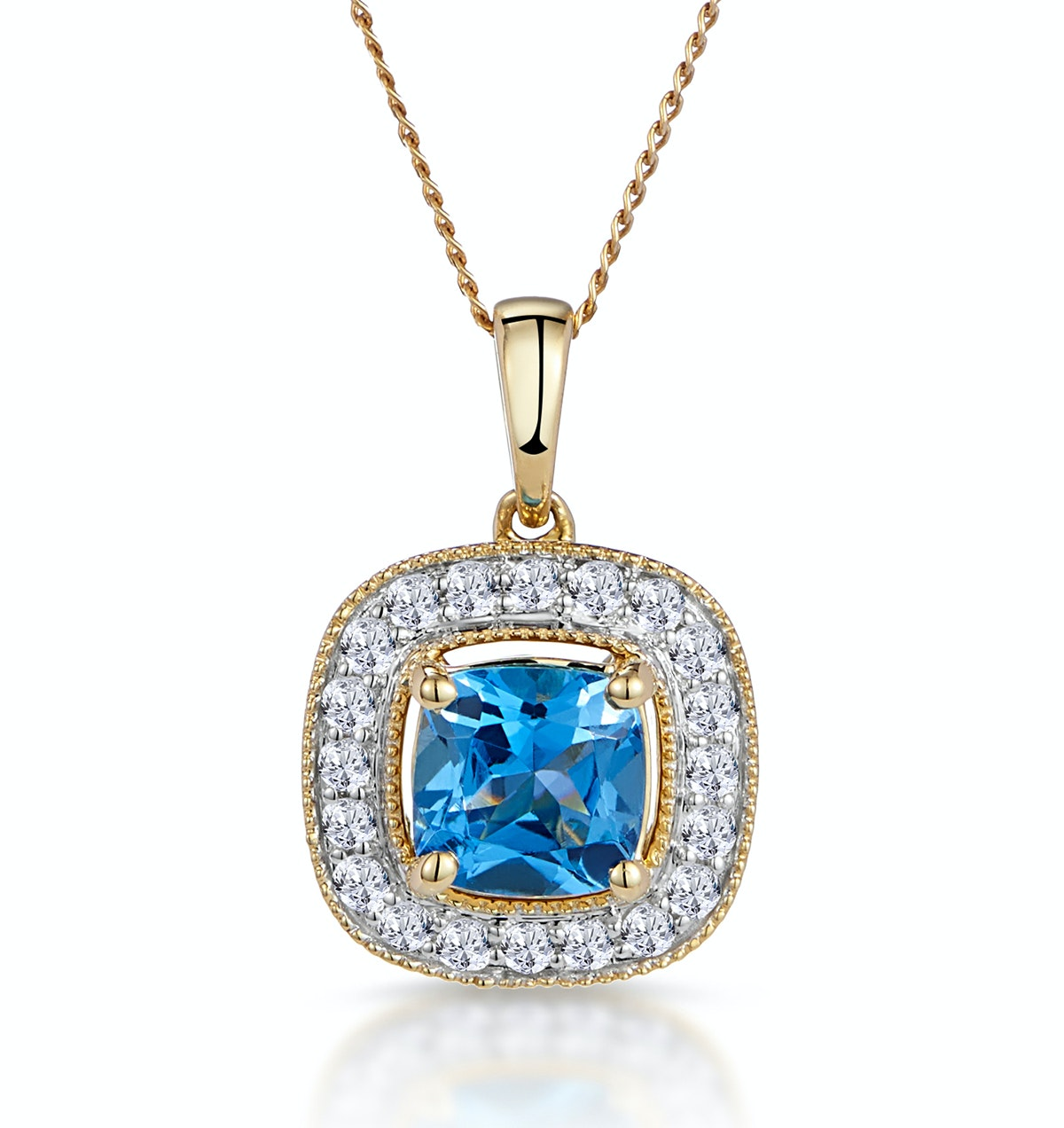 2.50ct Blue Topaz Asteria Collection Diamond Halo Pendant in 18K Gold