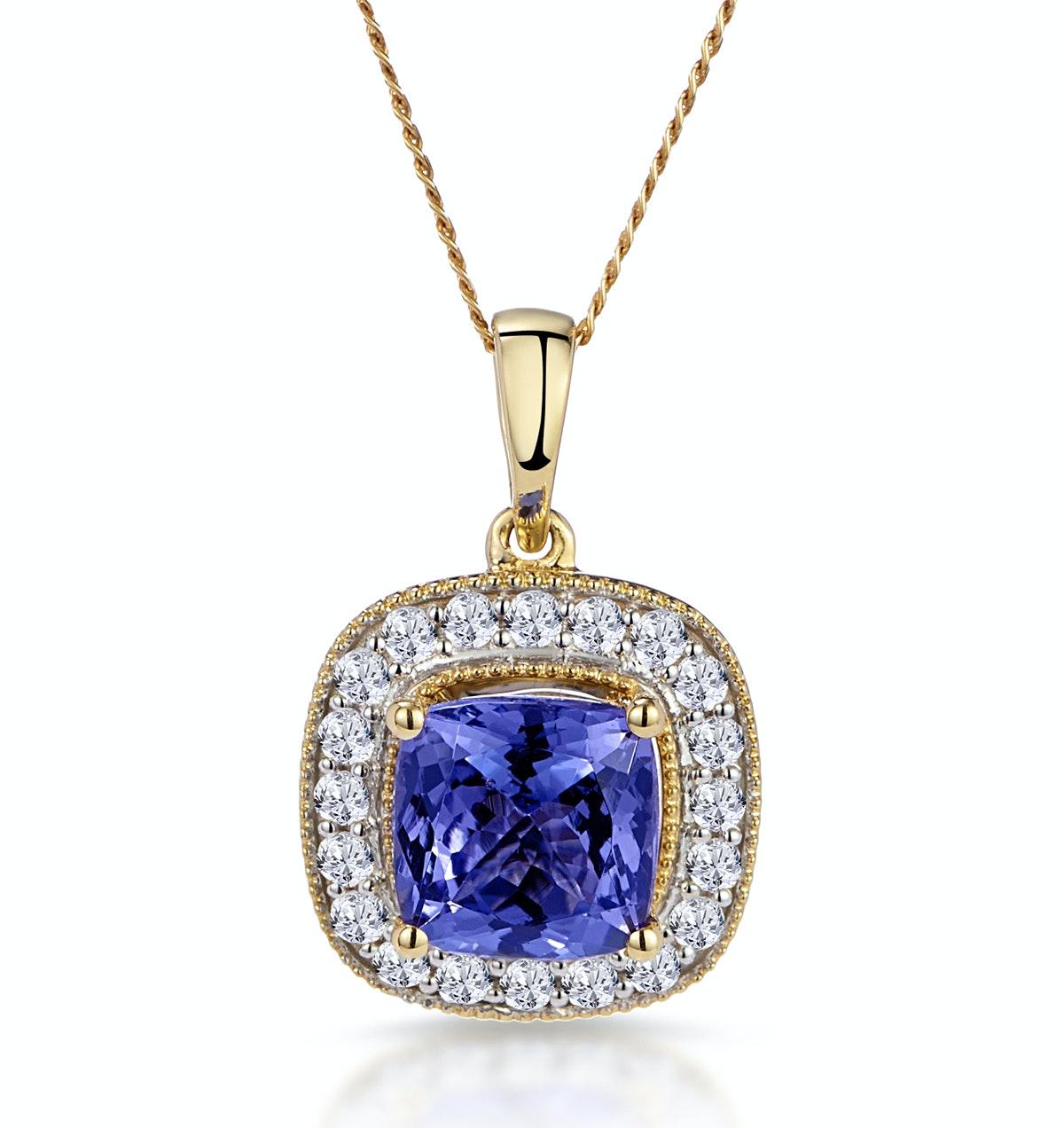 1.60ct Tanzanite Asteria Collection Diamond Halo Pendant in 18K Gold