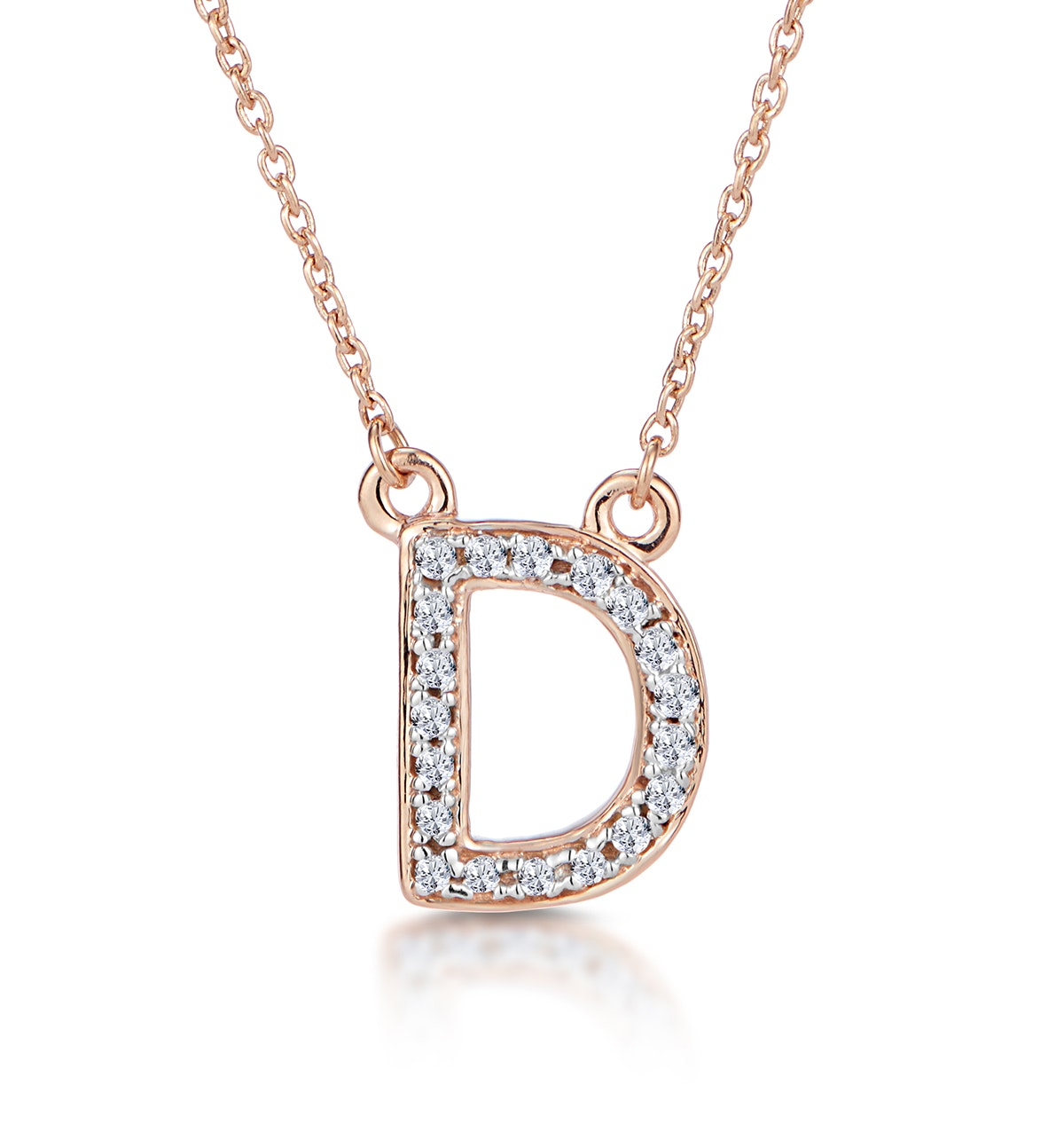 Initial 'D' Necklace Diamond Encrusted Pave Set in 9K Rose Gold