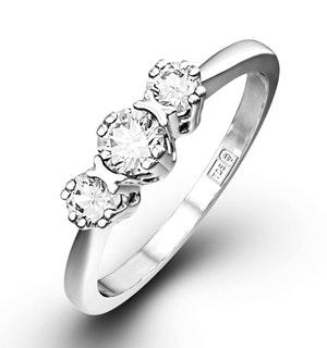 EMILY 18K WHITE GOLD 3 STONE DIAMOND RING 0.33CT