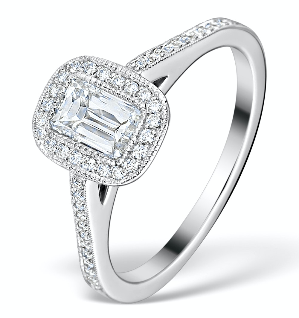 Halo Engagement Ring 1ct H/SI Prince Cut Diamond 18K White Gold FT47