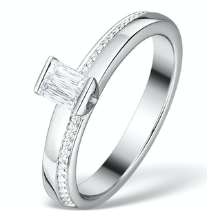 0.30CT IDEAL PRINCE CUT DIAMOND AND 18K WHITE GOLD H/SI RING FT50