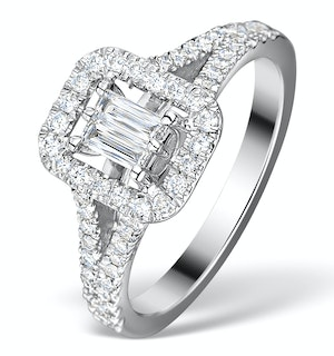 HALO ENGAGEMENT RING 0.65CT PRINCE CUT H/SI DIAMONDS 18K WHITE GOLD