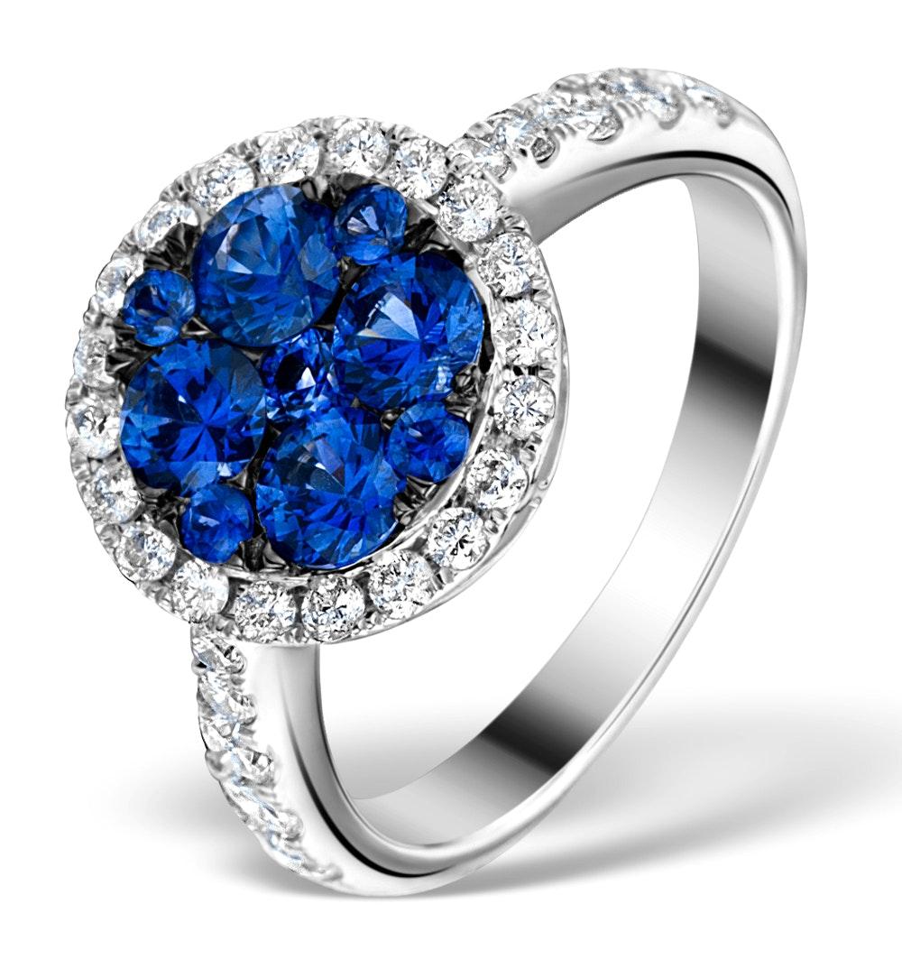 0.84ct Diamond 1.60ct Sapphire and 18K White Gold Circles Ring