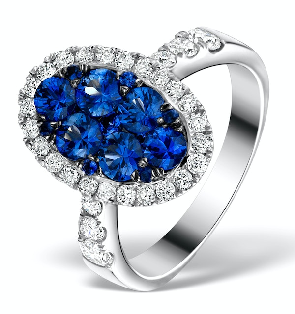 0.74ct Diamond 1.55ct Sapphire and 18K White Gold Cluster Ring - image 1