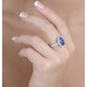 0.74ct Diamond 1.55ct Sapphire and 18K White Gold Cluster Ring - image 3
