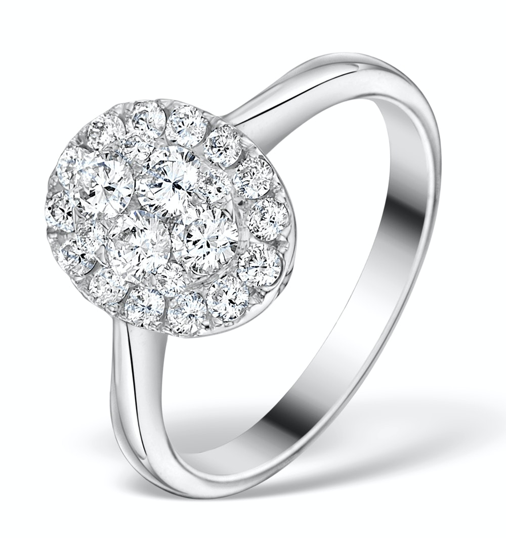 1ct Diamond and 18K White Gold Cluster Ring FT60