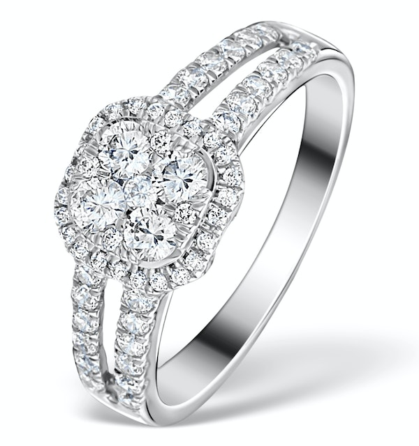 Halo Engagement Ring Galileo 0.90ct of Diamonds in 18K Gold - FT73 - image 1