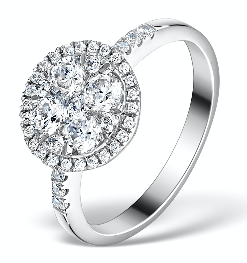 Halo Engagement Ring Galileo with 1ct of Diamonds in 18KW Gold - FT76
