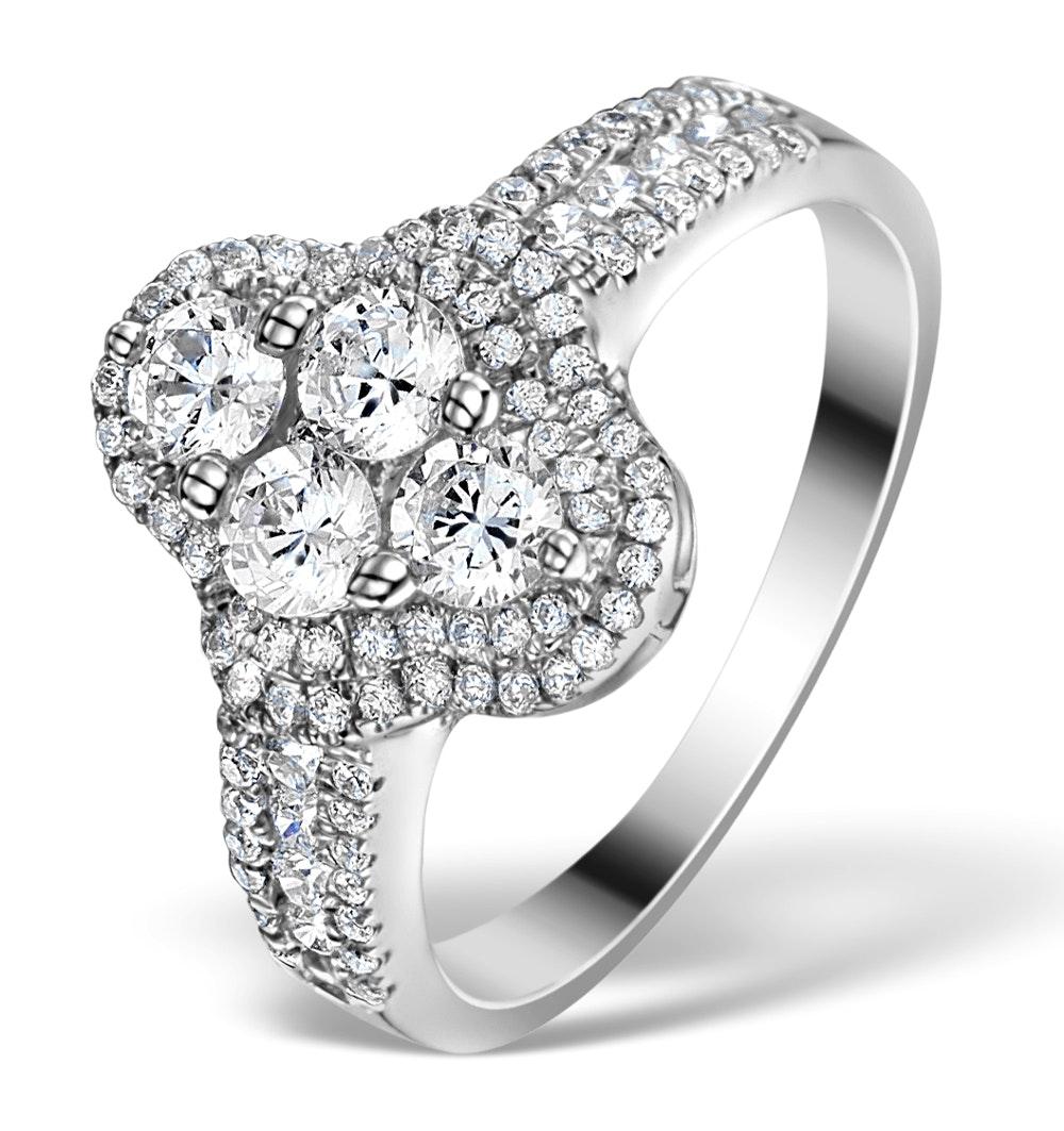 Halo Engagement Ring Galileo 1.25ct Diamonds 18KW White Gold FT78