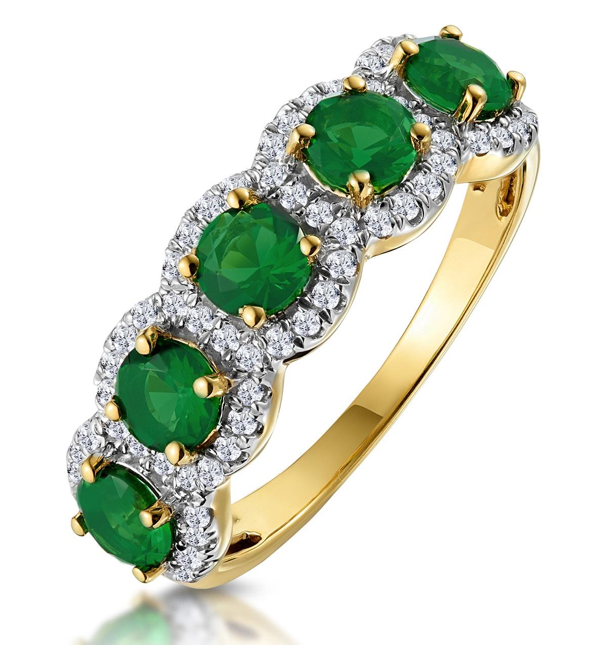 Emerald and Diamond Halo 5 Stone Asteria Ring in 18K Gold