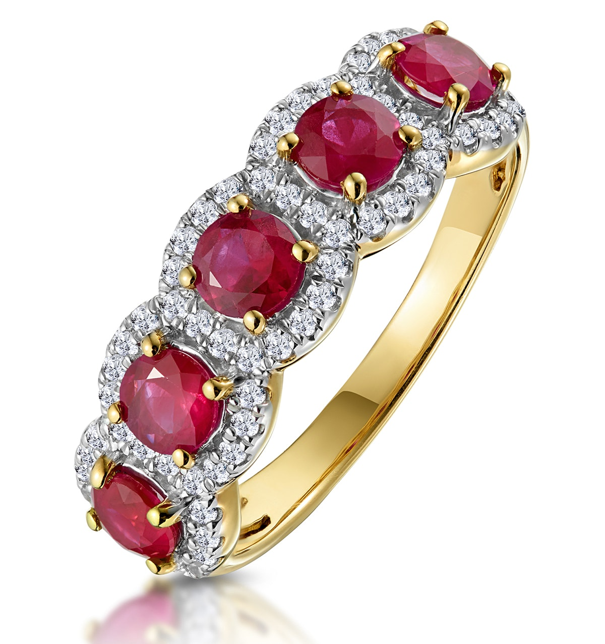 Ruby and Diamond Halo 5 Stone Asteria Ring in 18K Gold