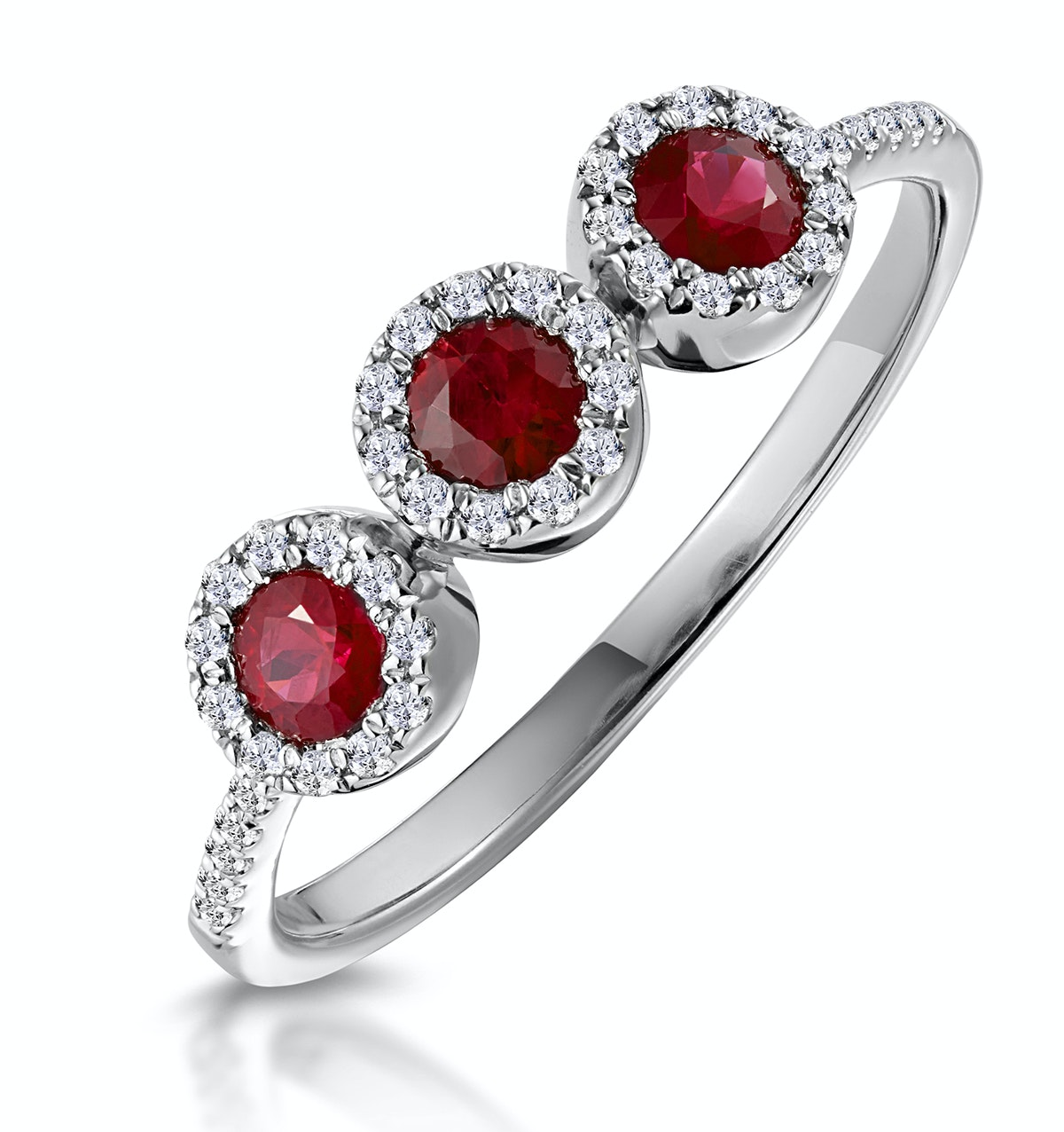Ruby and Diamond Halo Trilogy Asteria Ring in 18K White Gold