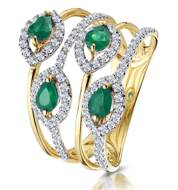Emerald and Diamond Halo Statement Ring 18K Gold - Asteria Collection - image 1