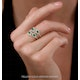 Emerald and Diamond Halo Statement Ring 18KW Gold - Asteria Collection - image 2