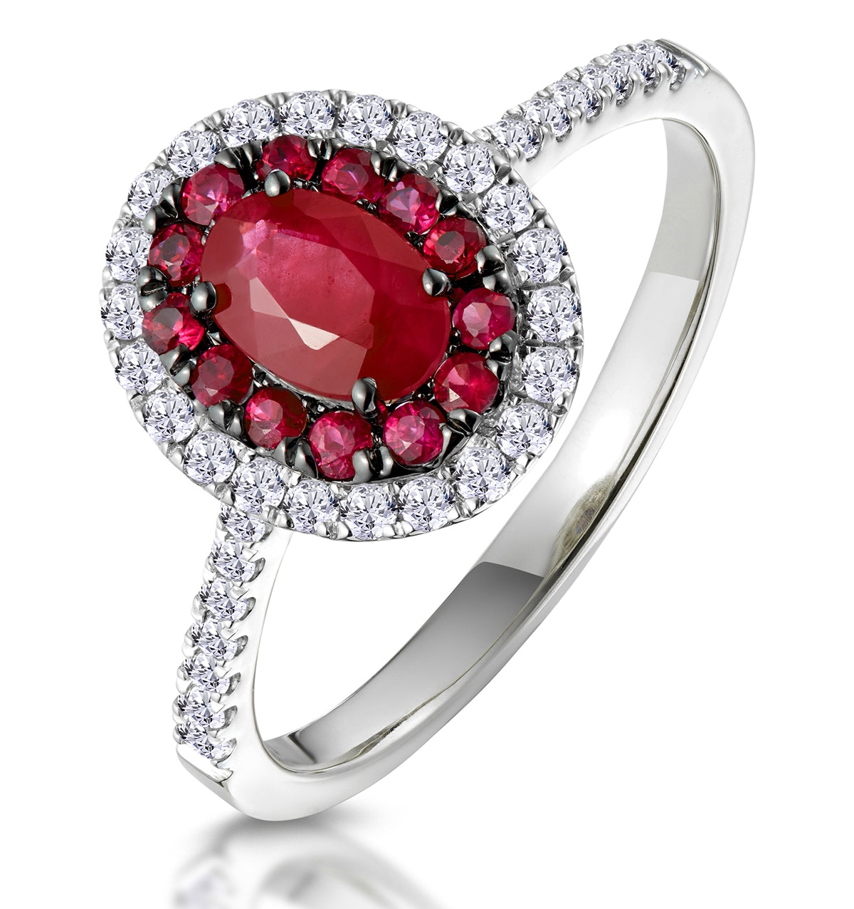 Ruby and Diamond Double Halo Ring 18K White Gold - Asteria Collection
