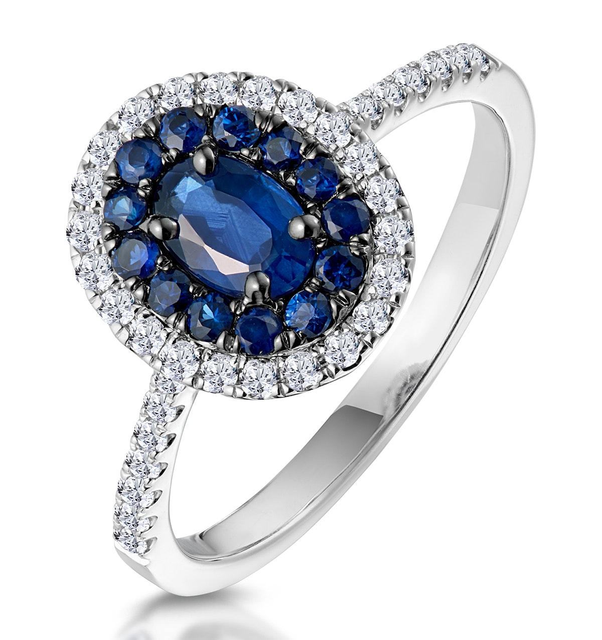 Sapphire and Diamond Double Halo Ring 18KW Gold - Asteria Collection