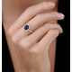 Sapphire and Diamond Double Halo Ring 18KW Gold - Asteria Collection - image 2