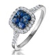 Sapphire and Diamond Halo Square Ring 18KW Gold Asteria Collection - image 1