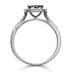 Sapphire and Diamond Halo Square Ring 18KW Gold Asteria Collection - image 3
